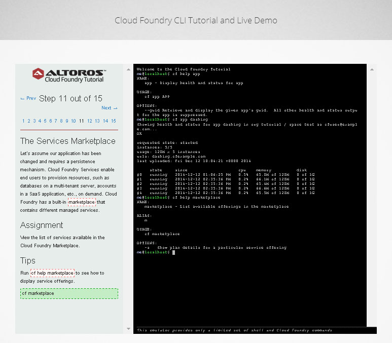 cloud foundry live demo and cli tutorial