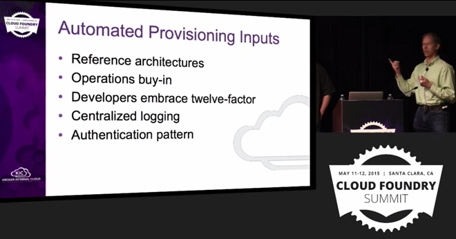 Kroger use case for Cloud Foundry: Automated provisioning inputs