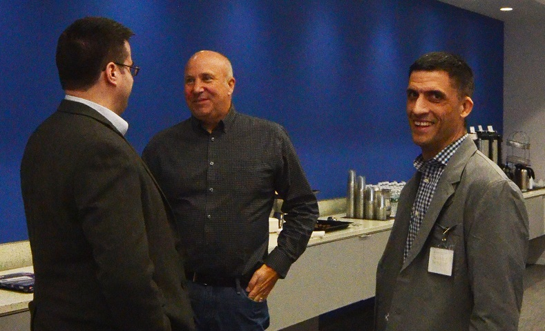 Michael Dolan (left) and Philip DesAutels (right) from Linux Foundation with Chris Ferris from IBM (center).