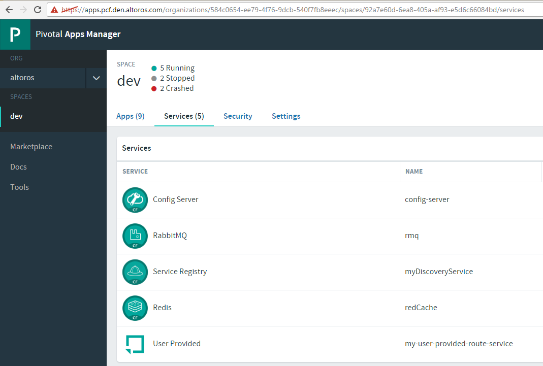 Pivotal Cloud Foundry Steeltoe Apps Manager Dashboard