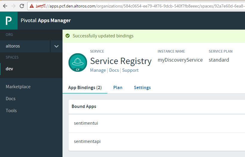 Pivotal Cloud Foundry Steeltoe apps manger service registry