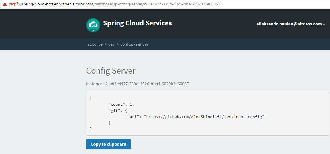 Pivotal Cloud Foundry Steeltoe config server manager