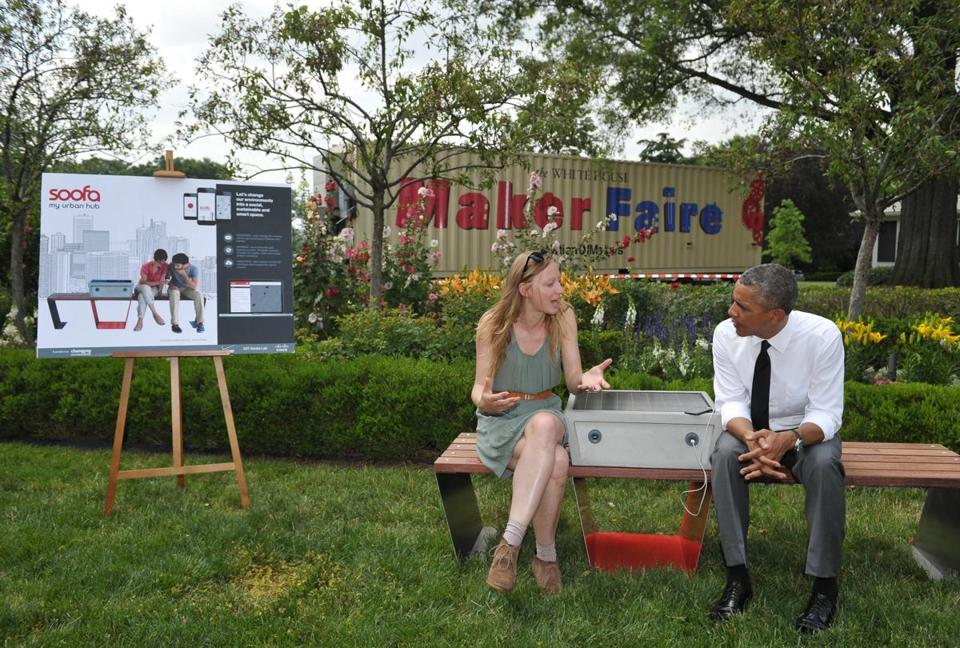 Smart bench and President Obama in Boston. Source: AFP/Getty Images