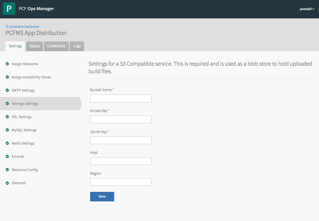 PCF Pivotal Cloud Foundry Ops Manager Installation Settings v2