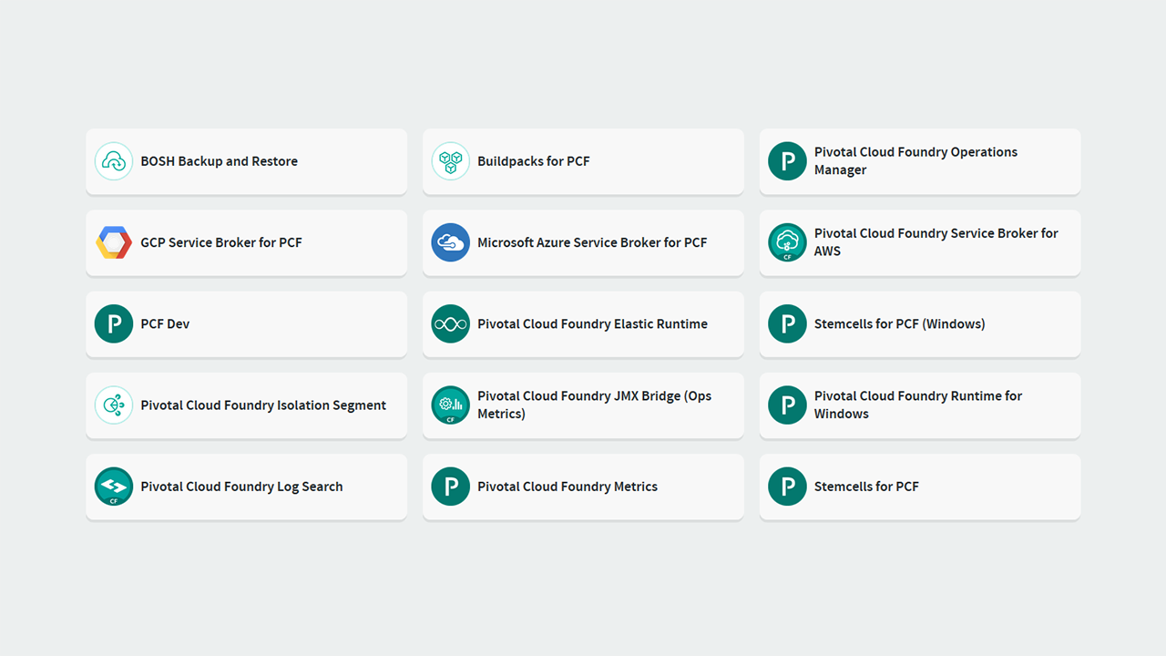 PCF Pivotal Cloud Foundry Tiles available