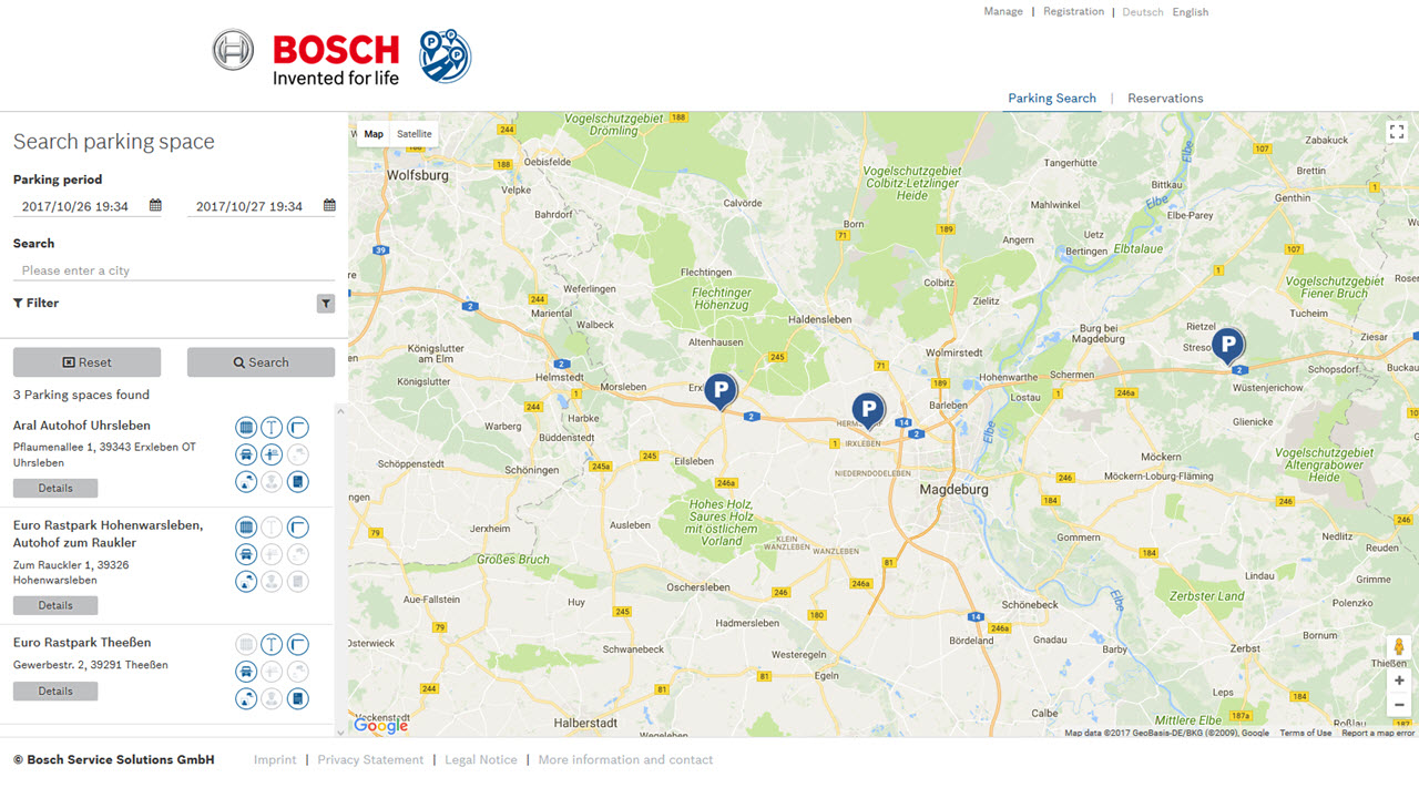 Bosch Secure Truck Parking web interface