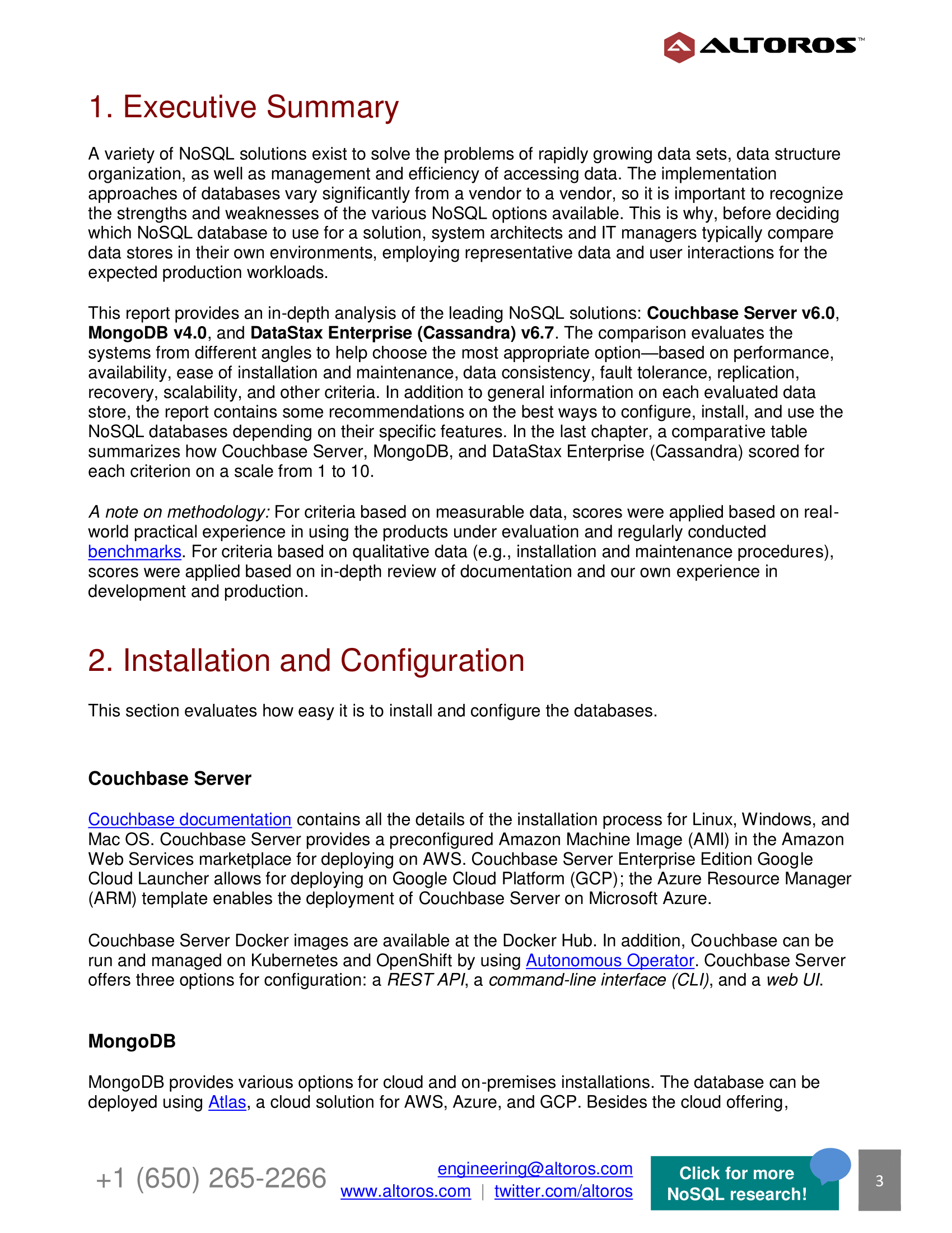 Technical NoSQL Comparison Report 2019: Couchbase Server v6